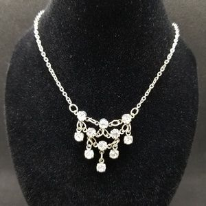 Claire's mini chandelier crystal silver necklace